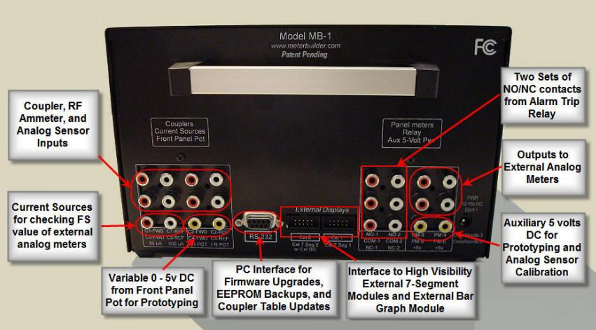 Face arrière wattmètre numérique MB-1